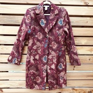 CAbi Burgundy Floral Brocade Jacket Coat 749